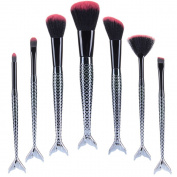 TTEWIN 7PCs Fashion Mermaid MakeUp Brushes Set Eyebrow Eyeliner Blush Foudation Cosmetic Tools
