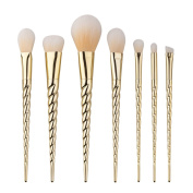 King Love Star Professional 7 Pcs/Set Unicorn Makeup Brushes Nylon Hair Golden Beauty Cosmetics Foundation Blending Blush Powder Makeup Brushes