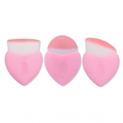 Saking 3 Pieces Heart-shaped Foundation Powder Blush Concealer Cream Makeup Brushes