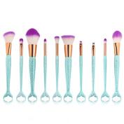 Vovomay Makeup Brushes,10Pcs Make Up Set Soft Toothbrush Beauty Brush Foundation Eyebrow Concealer Cosmetic Eyeshadow Brushes Kits