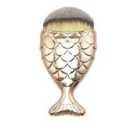 Start Cosmetic Brush Fish Scale Fishtail Bottom Powder Foundation Makeup Brushes -Gold