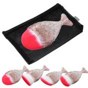 Start 4PC/Set Multicolor Brush Fish Scale Fishtail Powder Foundation Makeup Cosmetic All Shapes Brush & Bag