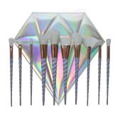 10pcs Thread Rainbow Handle Unicorn Makeup brushes Diamond Bag Cosmetics Foundation Blending Blush Make up Organiser Brush tool