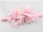 MA-on Baby Chiffon Pearl Rose Flower Headband