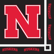Club Pack of 240 NCAA University of Nebraska Huskers 2-Ply Disposable Party Beverage Napkins 13cm