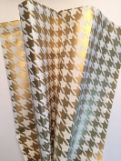 Tissue Paper for Gift Wrapping with Design (Metallic Gold Houndstooth), 24 Large Sheets