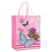Elegant Designed Soft Pink Floral Butterfly Small Gift Bag's 23cm x 18cm x 10cm | 30-Pack