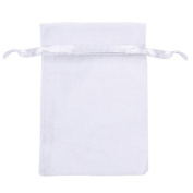 Awakingdemi Gift Bags Drawstring Pouch,100pcs Sheer Organza Wedding Party Candy Bags Jewellery Pouches White L Size