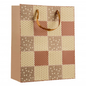Intricate Designed Light Honey Chequered Quilt Print Medium Gift Bag's 32cm x 26cm x 12cm   4-Pack