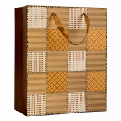 Intricate Designed Soft Caramel Chequered Quilt Print Small Gift Bag's 23cm x 18cm x 10cm | 12-Pack