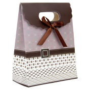 Intricate Designed Small Mauve Brown Buckle Bow Gift Bag's 16cm x 13cm x 6.4cm | 30-Pack