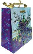 Punch Studio Gold Foil Embellished Medium Gift Bag ~ Blue Blossom Peacock