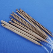 Zehui 12 Sizes Carbonised Bamboo Crochet Hooks 3.0-10.0mm--With Adjoined Plastic Cable for Maximum Project Flexibility