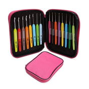 Portable and Durable 16pcs Aluminium Set Multi-colour Crochet Hooks Needles Knit Weave Craft Yarn For Home Sewing Needlecrafts