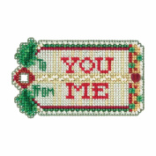 Gift Tag Beaded Counted Cross Stitch Christmas Ornament Kit Mill Hill 2017 Winter Holiday MH181735