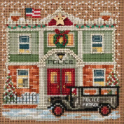 Police Station Beaded Counted Cross Stitch Kit Mill Hill Buttons & Beads 2017 Winter Series MH141732