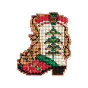 Holiday Boot Beaded Counted Cross Stitch Christmas Ornament Kit Mill Hill 2017 Winter Holiday MH181736