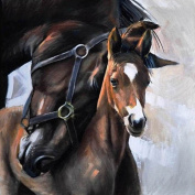 Ukerdo DIY Horse Wall Art Handmade Diamond Painting Pictures Home Decoration