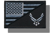 "[Single Count] Custom and Unique (7.6cm x 5.1cm ) Rectangle ""Political"" USA Stars & Stripes Air Force Military Morale Flag Embroidered Applique Patch {White & Black Colours} [Licenced]"