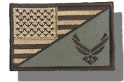 """[Single Count] Custom and Unique (7.6cm x 5.1cm ) Rectangle """"Political"""" USA Stars & Stripes Air Force Military Morale Flag Embroidered Applique Patch {Brown, White, & Tan Colours} [Licenced]"""