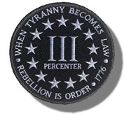 """[Single Count] Custom and Unique (8.9cm x 8.9cm Inch) Round """"Tactical"""" """"When Tyranny Becomes Law, Rebellion Is Order"""" 3 Percenter Embroidered Applique Patch {Black & White Colours} [Licenced]"""