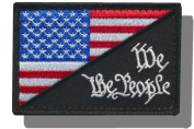 """[Single Count] Custom and Unique (7.6cm x 5.1cm ) Rectangle """"Political"""" USA Stars & Stripes """"We The People"""" Morale Flag Embroidered Applique Patch {Black, Blue, White, & Red Colours} [Licenced]"""