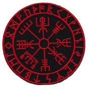 """[Single Count] Custom and Unique (8.9cm x 8.9cm ) Round """"Tactical"""" Viking Compass Vegvisir Morale Embroidered Applique Patch {Black & Red Colours} [Licenced]"""