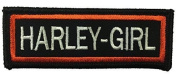 """[Single Count] Custom and Unique (2.5cm x 7.6cm ) Rectangle """"Emblem"""" """"Harley-Girl"""" Motorcycle Club Design w/ Border Iron/Sew On Embroidered Applique Patch {Black, White, & Orange Colours} [Licenced]"""