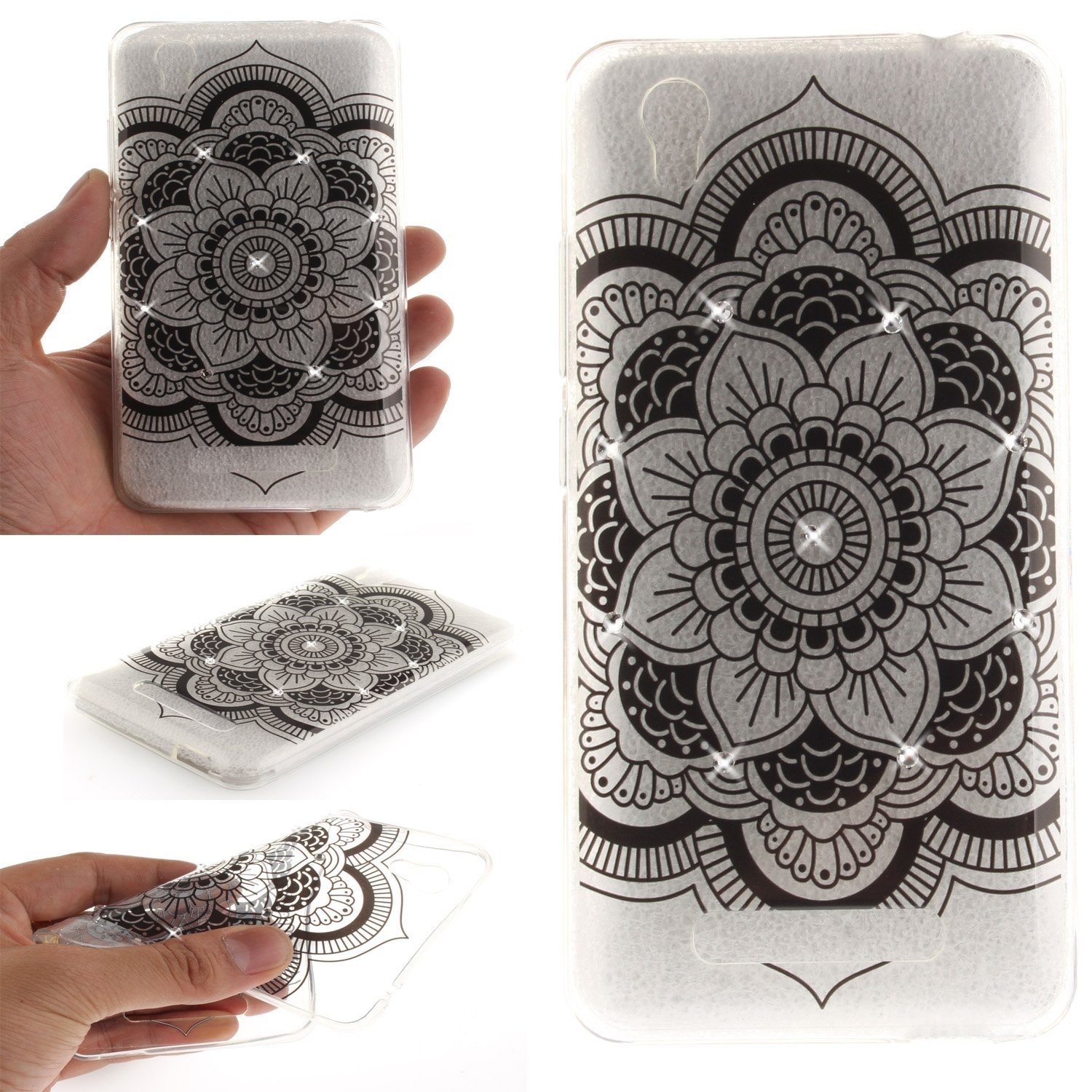ZTE-Blade-A452-Black-Big-Flower-EC-Touch-Fashion-Style-Colourful-Painted
