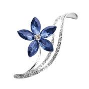 Meolin Women Elegant Blue Flower Rhinestone Clip Brooch Pin