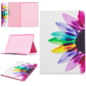 EC-touch Simple Beautiful Colourful Flower [Magnetic] Style PU Leather Case Wallet Flip Stand [Flap Closure] Cover for Ipad Pro 9.7/Ipad 8(2017)