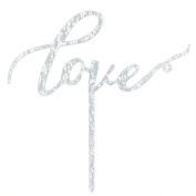 "Karoo Jan "" Love "" Silver Glitter Cake Topper , Wedding Cake Toppers for Engagement Anniversary Party Decoration"