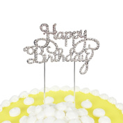 PALASASA Happy Birthday Cake Topper, Crystal Rhinestones on Silver Metal, Party Decorations