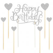 """PALASASA Happy Birthday Cake Toppers Silver letters""""happy birthday """"and love star,Party decor Decorations,Set of 7"""