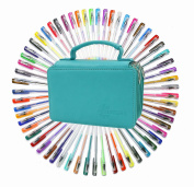 60 Assorted Colours Gel Pen Set with 72 Slots PU Leather Travel Case, for Sketching, Drawing, Painting, Writing & Custom Artistic Creations Adult Colouring Books