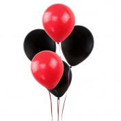KUMEED Black Red Assorted Balloons 30cm Latex Balloons Children Party Balloons Vivid Bright Colour Balloon Globos Holiday Birthday Wedding Balloons Pack of 100