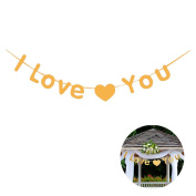 Shoppingmoon I Love You Letters Banner Bunting Garland for Valentine's Day Wedding Birthday Party Decoration