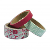 3 masking tapes 5 m - mint & pink