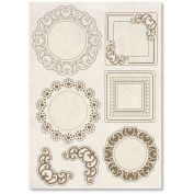 Stamperia Carved Wooden shapes f.to A5 Frames and corners