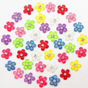 "Dandan DIY 80pcs 10mm(0.4"") Mini White Resin Flowers with Shiny Rhinestone Flatback Resin Buttons Flatback Resin Craft Flowers Phonecover Cards Craft Scrapbooking"