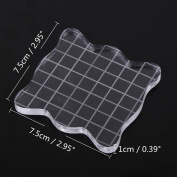 Clear Stamp Block Pad with Grits,Wave Shaped Square Pad for DIY Craft Gift Cards Scrapbooking Rubber Stamps Colour Process Practical Tools