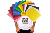 PrimeCuts Premium Heat Transfer Vinyl Sheets (15 COLOUR PACK GOLD SILVER) 30cm x 25cm for T Shirts, Hats, Clothing - Best Iron On HTV Vinyl for Silhouette Cameo, Cricut or Heat Press Machine Tool