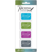 Ranger Wendy Vecchi Archival Mini Ink Pad Kit, Set 2 - Permanent Ink Pads, 4 pieces per kit