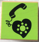 Wood Mounted Hampton Arts BRIGHT LINE Rubber Stamp -Dial My Heart - H2357