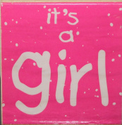 Wood Mounted Hampton Arts BRIGHT LINE Rubber Stamp - IT'S A GIRL - H2365