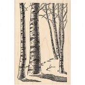 Birch Tree Forest Rubber Stamp