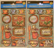 2 Packs 'Tea & Coffee Time' Themed Dimensional Stickers/Embellishments bundle