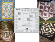 Bundle of Creative Grids Log Cabin Trim Tool for 20cm Finished Blocks Quilt Ruler (CGRJAW1) and Four (4) Log Cabin Patterns by Cut Loose Press