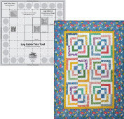 Bundle of Creative Grids Log Cabin Trim Tool for 20cm Finished Blocks Quilt Ruler (CGRJAW1) and Half Log Cabin Pattern by Cut Loose Press