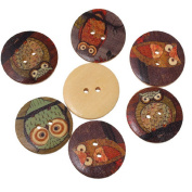 50 Pcs Wooden Round Buttons Owl Pattern 2-hole 30 mm Sewing Scrapbook and DIY Craft